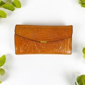 Wallet Leather Tooled Mexico Honey Brown